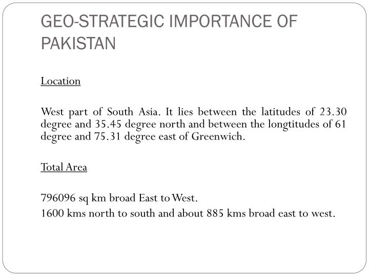 geopolitical importance of pakistan