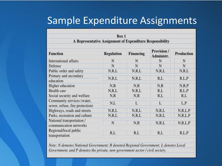 Sample Expenditure Assignments