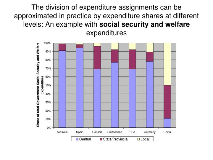 The division of expenditure assignments can be approximated in practice by expenditure shares at different levels: An example with