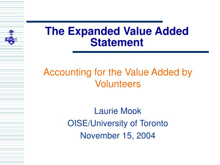 the expanded value added statement n.