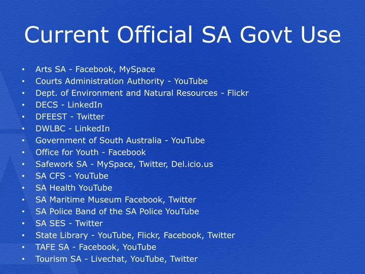 Current official sa govt use