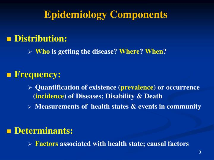 Epidemiology components