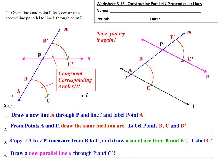 Ppt Worksheet 315 Constructing Parallel Perpendicular Lines. Worksheet 315 Constructing Parallel Perpendicular Lines. Worksheet. Geometry Parallel And Perpendicular Lines Worksheet At Mspartners.co
