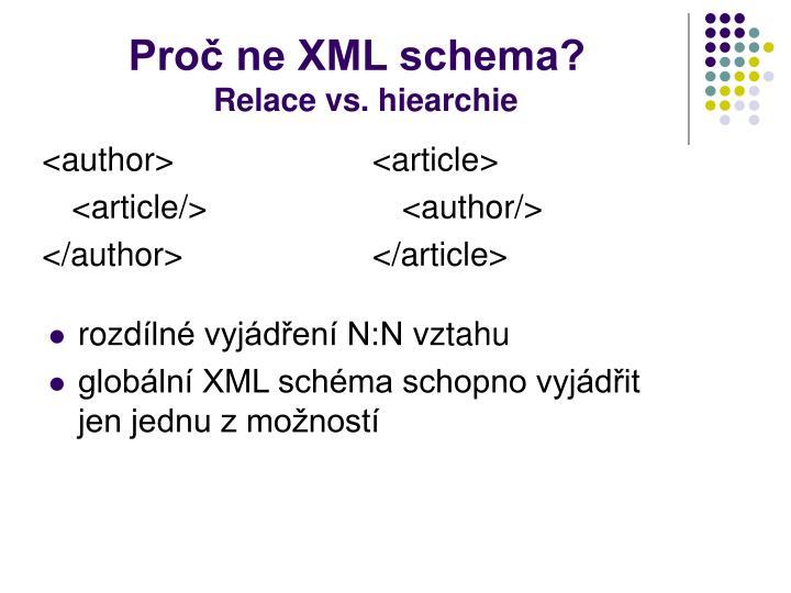Proč ne XML schema?