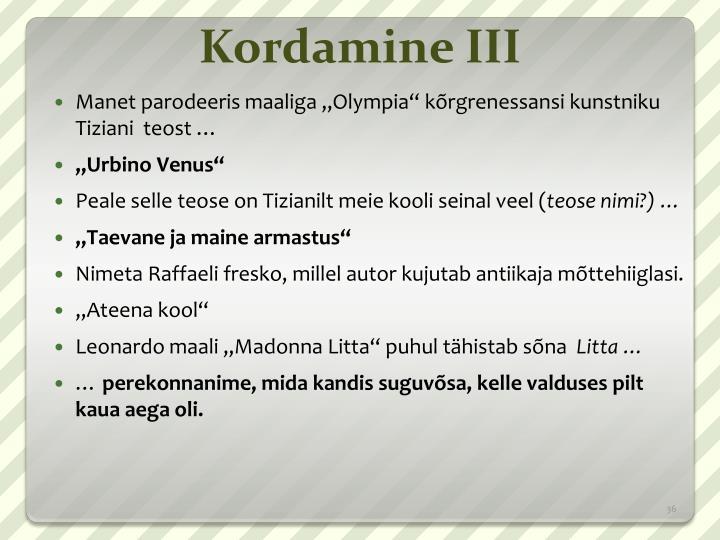 Kordamine III