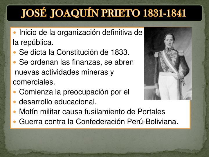 JOSÉ  JOAQUÍN PRIETO 1831-1841