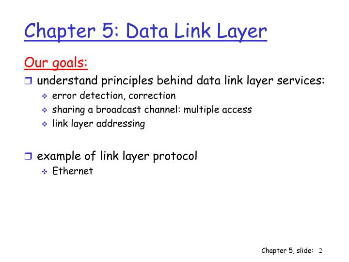 Chapter 5 data link layer