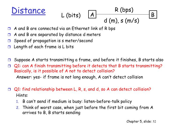 A and B are connected via an Ethernet link of R bps