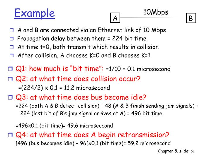A and B are connected via an Ethernet link of 10 Mbps