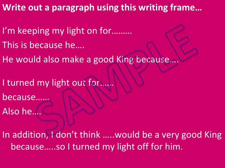 Write out a paragraph using this writing frame…