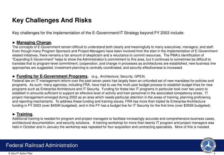 Key Challenges And Risks