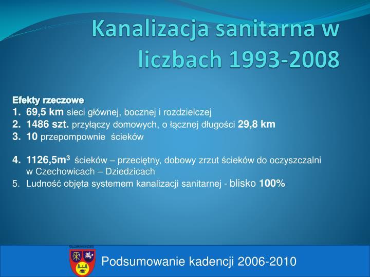 Kanalizacja sanitarna w liczbach 1993-2008