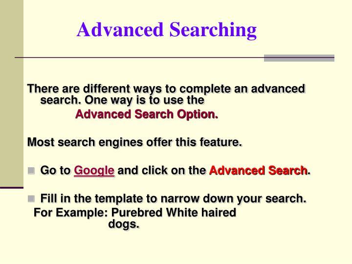 Advanced Searching
