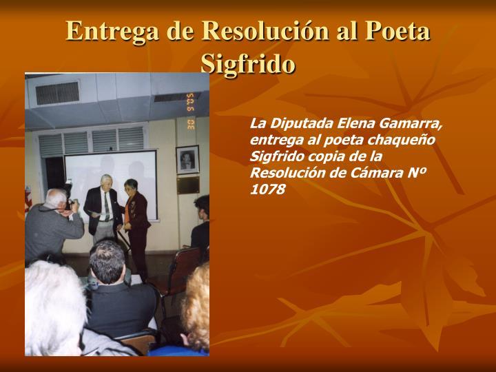 Entrega de Resolución al Poeta Sigfrido