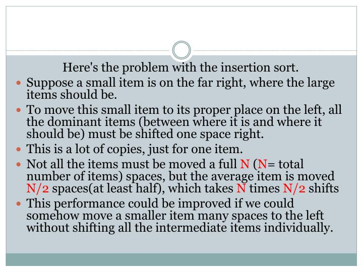 Here's the problem with the insertion sort.