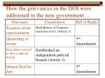 how the grievances in the doi were addressed in the new government