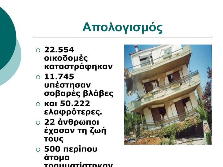 22.554 οικοδομές καταστράφηκαν