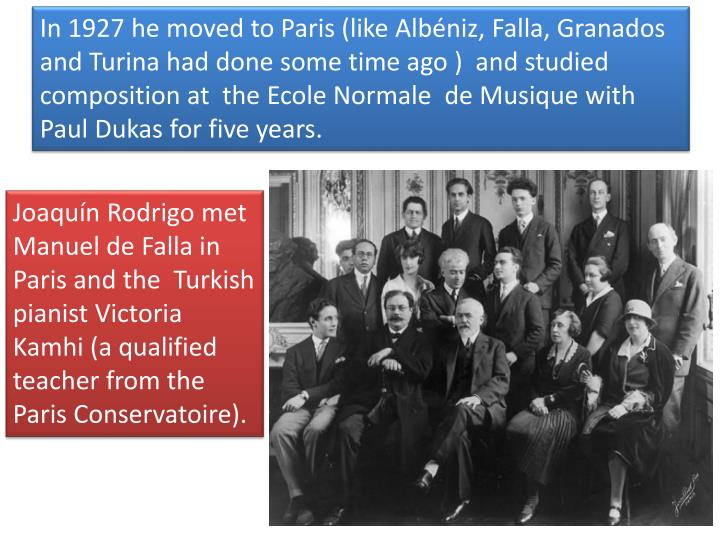 In 1927 he moved to Paris (like