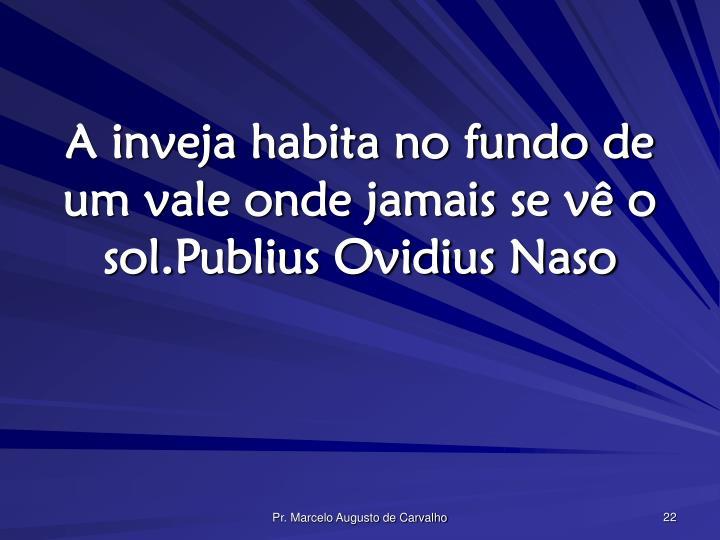 A inveja habita no fundo de um vale onde jamais se vê o sol.Publius Ovidius Naso