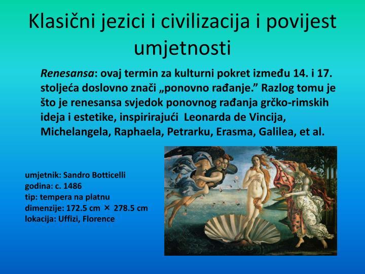 Klasi ni jezici i civilizacija i povijest umjetnosti