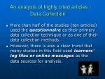 an analysis of highly cited articles data collection