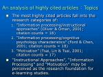 an analysis of highly cited articles topics