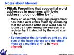 notes about memory
