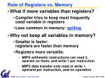 role of registers vs memory