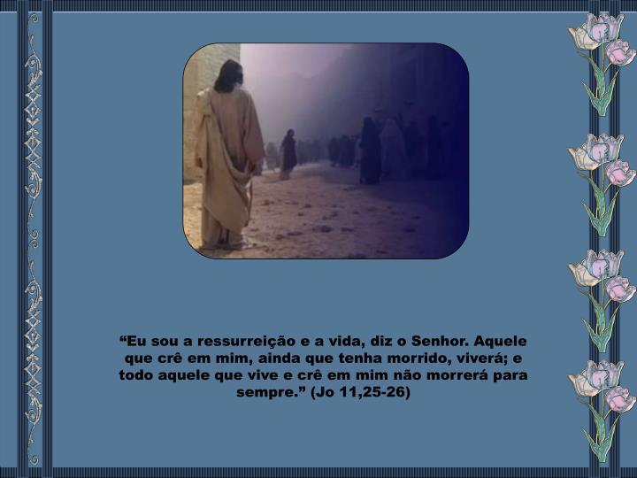 """""""Eu sou a ressurreição e a vida, diz o Senhor. Aquele que crê em mim, ainda que tenha morrido, viverá; e todo aquele que vive e crê em mim não morrerá para sempre."""" (Jo 11,25-26)"""