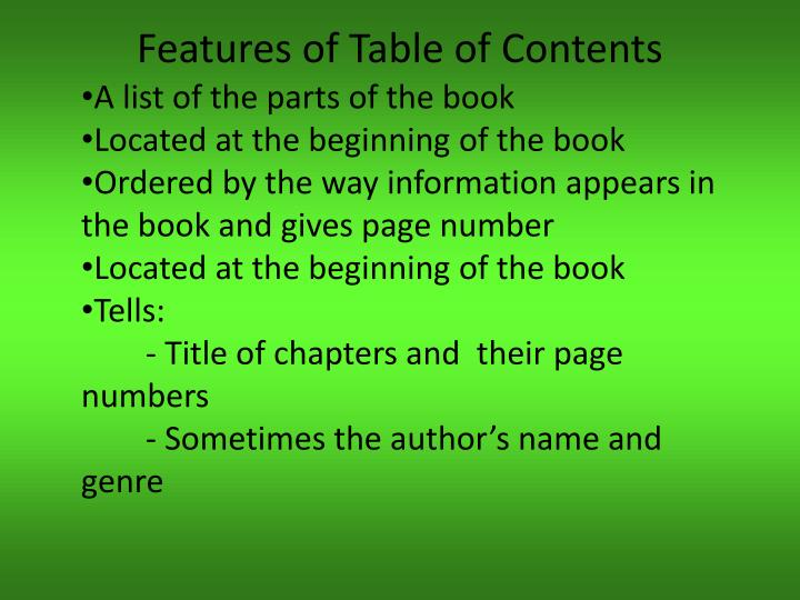 Features of table of contents