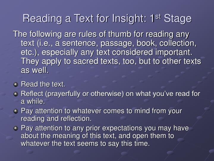 Reading a text for insight 1 st stage