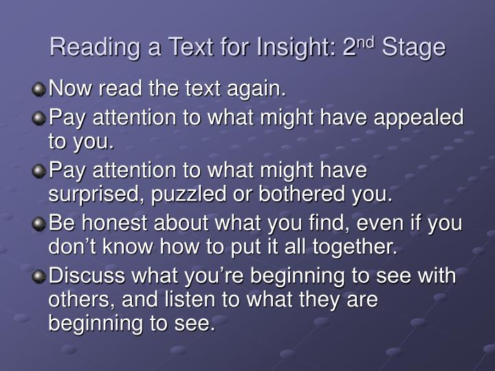 Reading a text for insight 2 nd stage