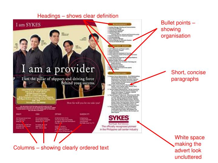 Headings – shows clear definition