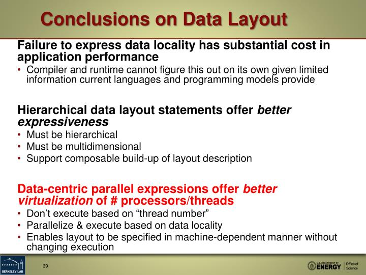 Conclusions on Data Layout