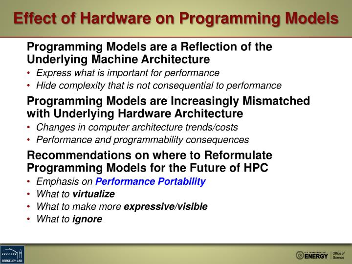 Effect of Hardware on Programming Models