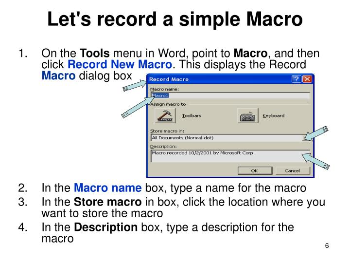 Let's record a simple Macro