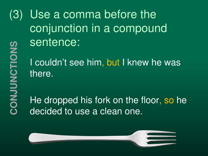 (3)Use a comma before the conjunction in a compound sentence: