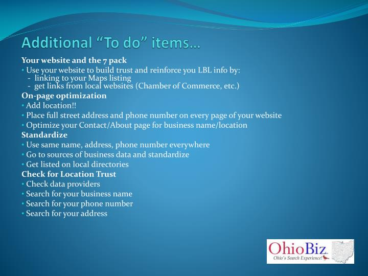 """Additional """"To do"""" items…"""