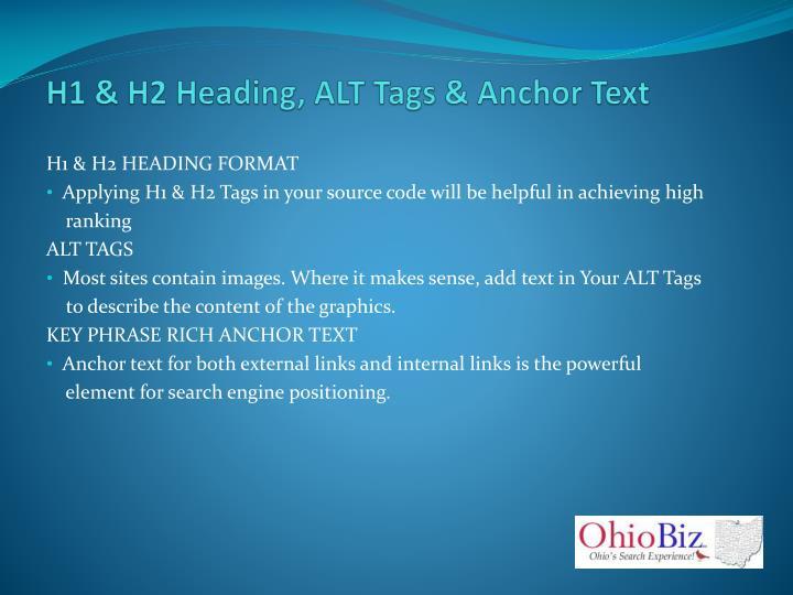 H1 & H2 Heading, ALT Tags & Anchor Text