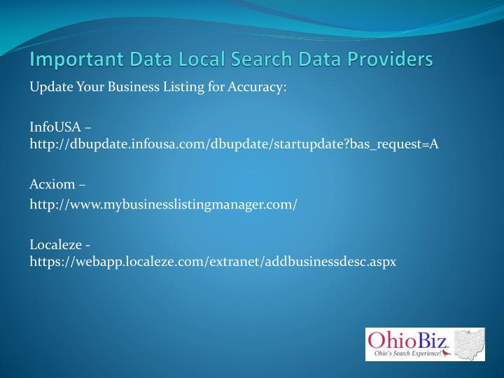 Important Data Local Search Data Providers
