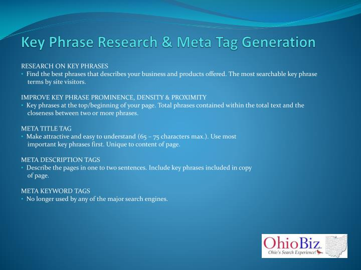 Key Phrase Research & Meta Tag Generation