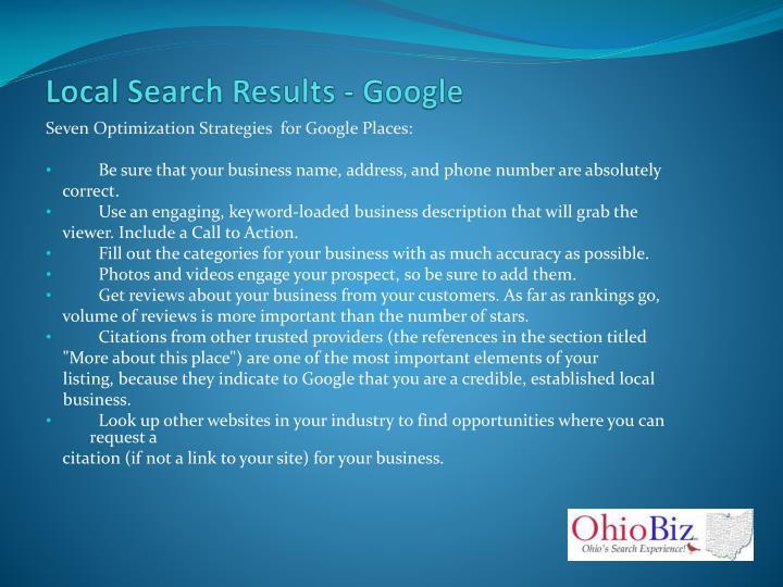 Local Search Results - Google