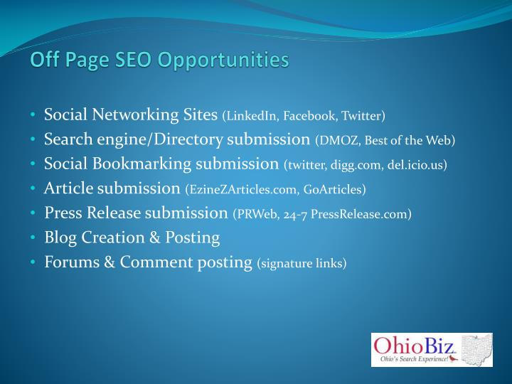 Off Page SEO Opportunities