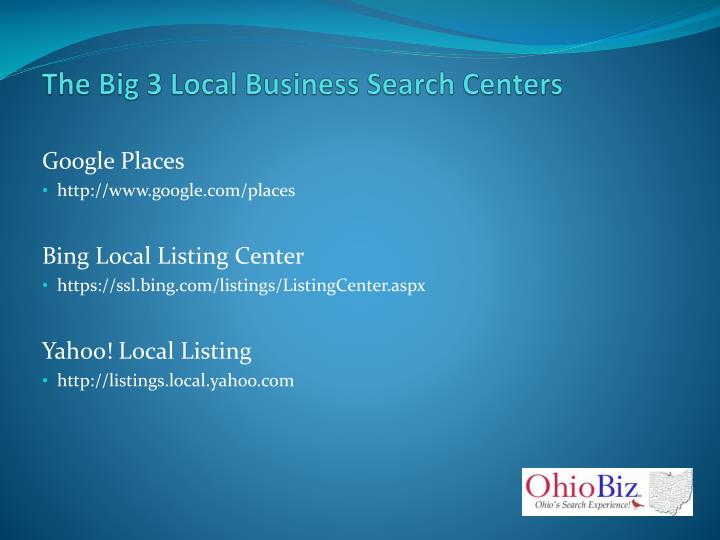 The Big 3 Local Business Search Centers