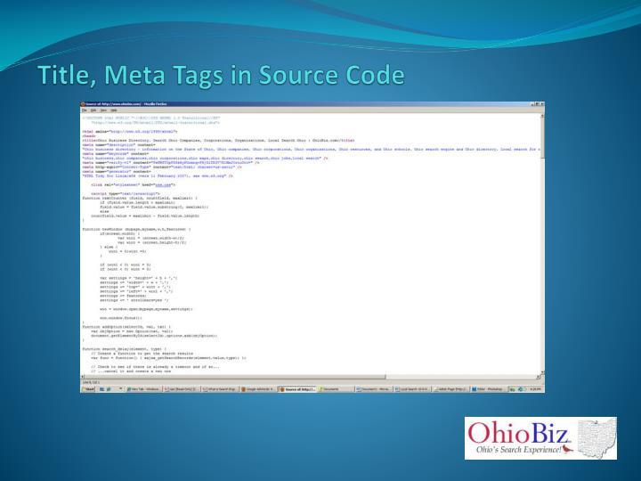 Title, Meta Tags in Source Code