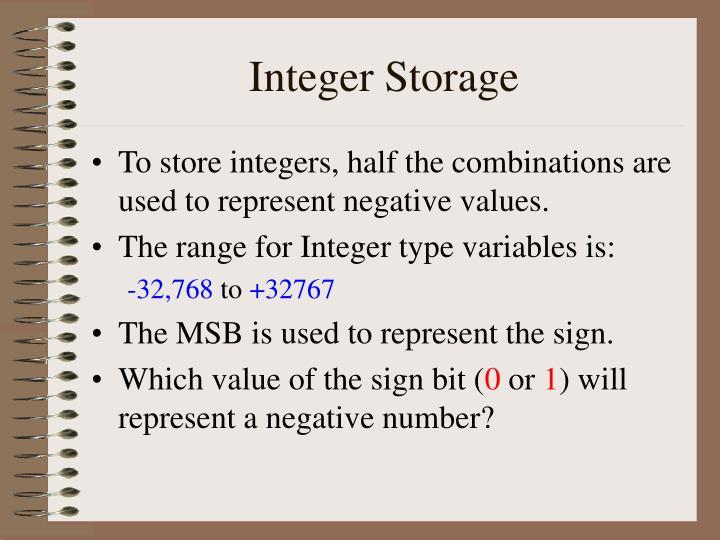 Integer Storage