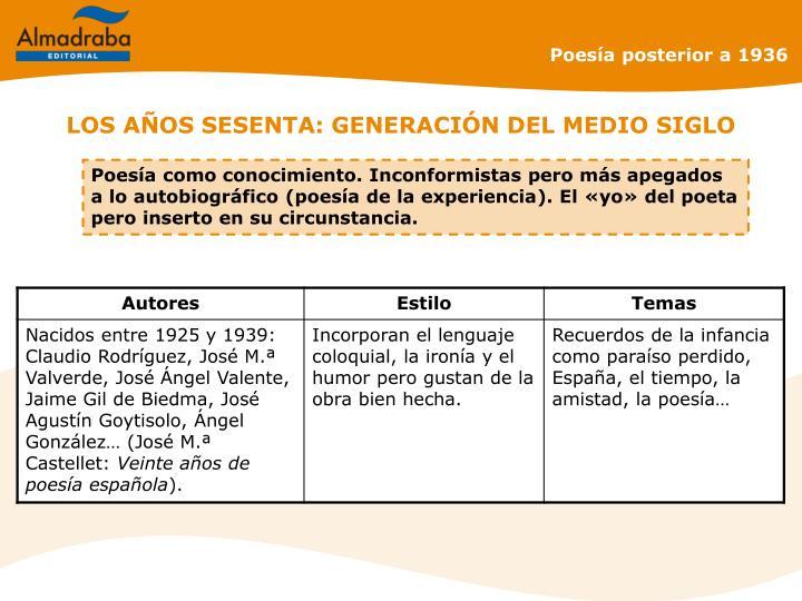 LOS AÑOS SESENTA: GENERACIÓN DEL MEDIO SIGLO