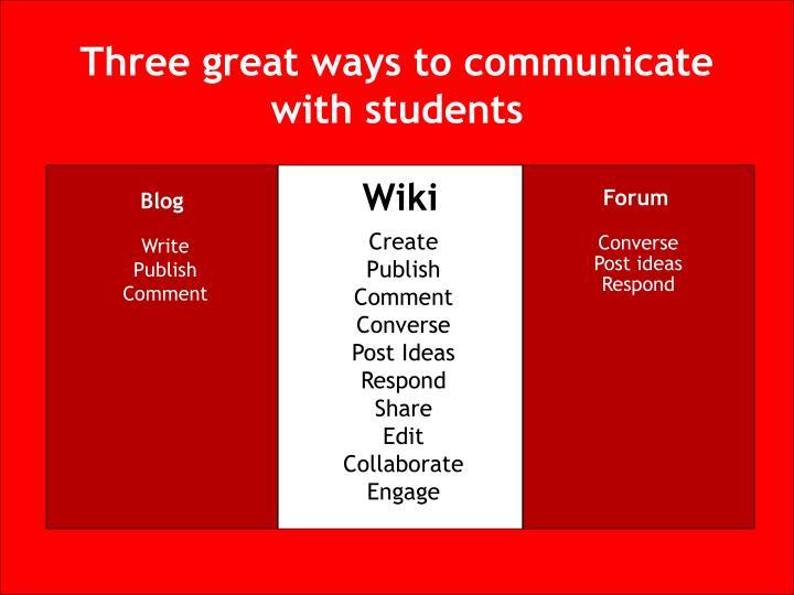Three great ways to communicate