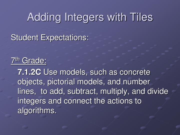 adding integers with tiles n.