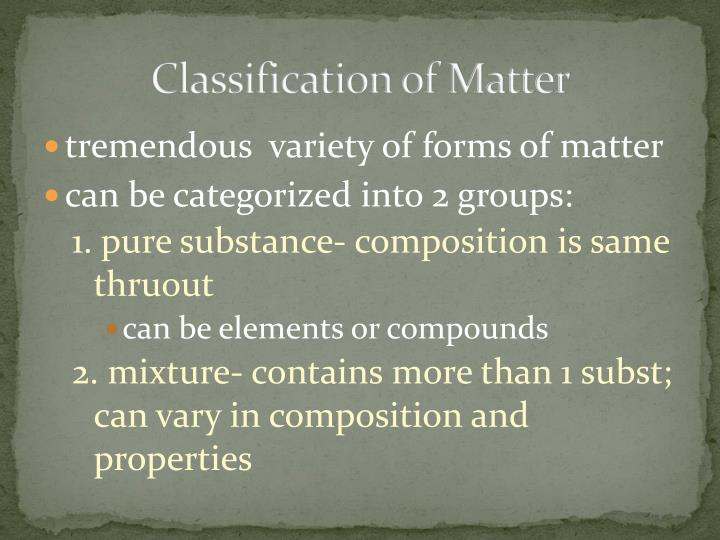 Classification of Matter